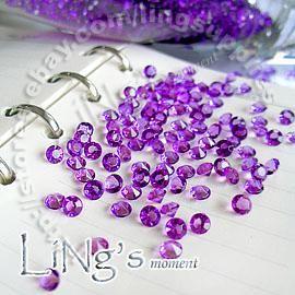 30 % off 1000 1 / 3ct 4.5mm 결혼식을 좋아하는 보라색 다이아몬드 콘 페티 웨딩 테이블 장식