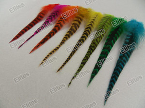 Grizzly Rooster Feather Hair Extension 100pc Feathers Extensions + 1 Needle + 200 Beads GRF202