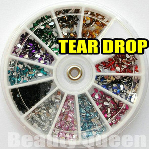 Wholesale 1800pcs color Tear Drop Shape Rhinestone Glitter Nail Art beads Acrylic Tips acrylicstone in Wheel