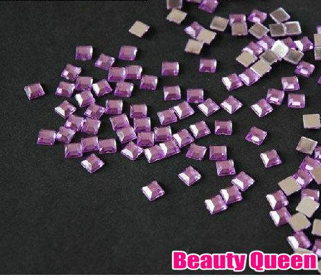 fyrkantig form rhinestone glitter nagel konst pärlor 2mm akryl spets akrylstens i hjul