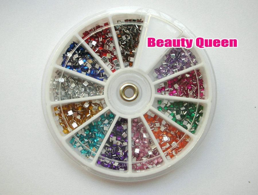 1800 stks Square Shape Rhinestone Glitter Nail Art Kralen 2mm Acryl Tip Acrylicstone in Wheel