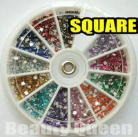 forma de unha quadrada venda por atacado-1800 pcs 12 cores Forma Quadrada Strass Glitter Nail Art beads 2mm Ponta Acrílica