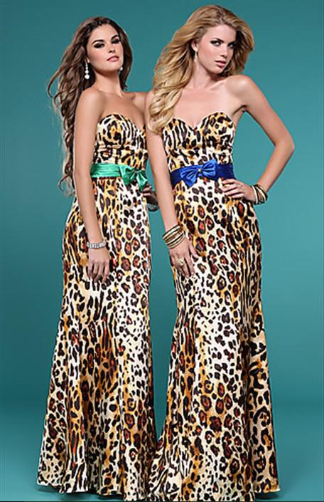 733d32d279 Elegant Classy Sexy Leopard Print Dresses Satin Sweetheart Bow ...