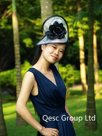 NEW BIG fascinator Fascino nuziale bianco / nero con cappello sinamay in forma SPECIALE con fiore di seta, la sposa Kentucky Derby