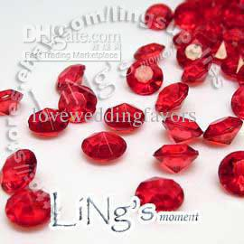 Point chaud 30% de rabais 1000pcs 2ct 8mm confettis de diamant rouge table de faveur de mariage disperser Decor