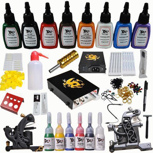 Hot 2 Tattoo Gun Professional Superior Tattoo Gun Kits 14 Ink 50 ...