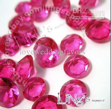 Prezzo più basso 30% di sconto 500pcs 4ct 10mm Fuchsia diamante confetti bomboniera tavolo decorativo Decor