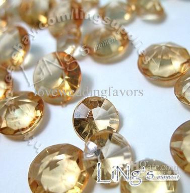 최저 가격 30 % 할인 500pcs 4ct 10mm GOLD 다이아몬드 색종이 결혼식 호의 표 산란 장식