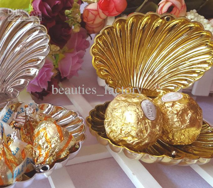 Silver Gold Shell Wedding Candy Box Favors Wedding Christmas Gift Party Boxes