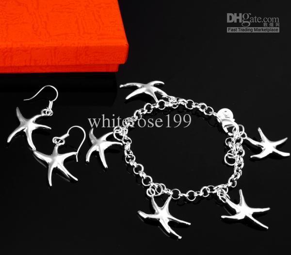 Оптовая низкая цена рождественский подарок 925 серебряный браслет + серьги комплект S21