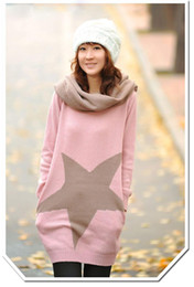 Wholesale Hot Colours Winter Women - Hot Autumn Winter Womens Fashion Big Five-pointed Star Long Tops Sweater + Neck Warmers 4 Colours
