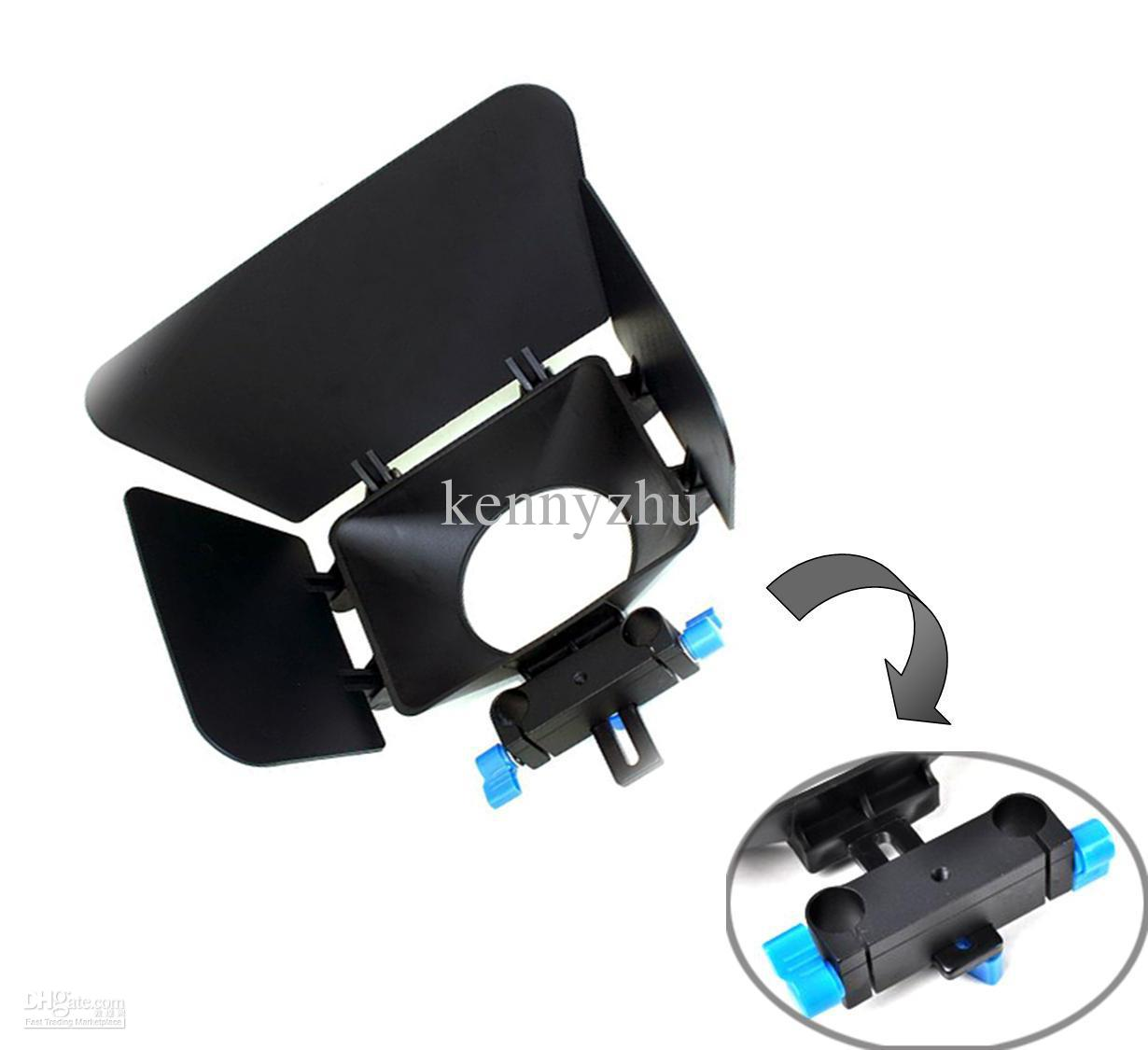 DSLR Movie Kit Matte Box sistema di supporto asta guida 15mm Videocamere 7D 5D MARK II 60D 600D D90