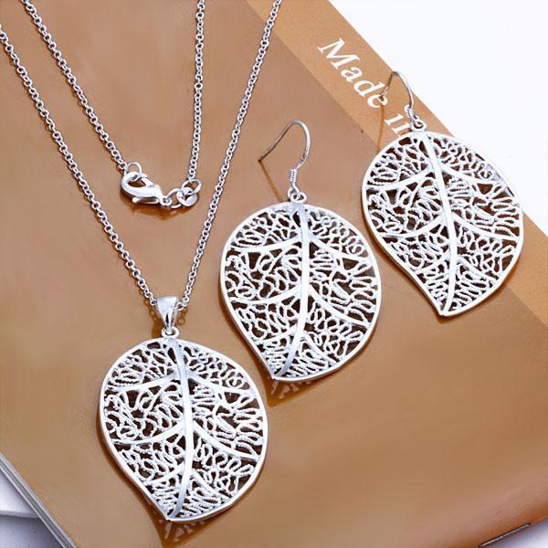c0b127e19bfc 2019 Wholesale Jewelry Set 925 Silver Fancy Leaf Pendant Earrings Necklace  Set Fashion Jewelry Set From Yinao jewelry
