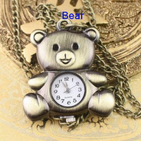 Wholesale Rose Pocket Watch - Mixture Copper Rose Tortoise Motorcycle mouse Bicycle Bear Owl Pocket Watch Necklace Unisex Watches