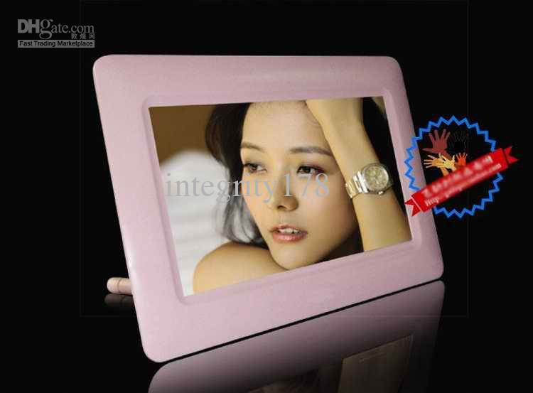 Photoframe digitale da 7 pollici. Cornice digitale, cornice digitale, bianco / nero / cornice rosa.