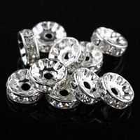 Wholesale 12mm Rondelle Beads - 10MM   12MM Clear Crystal Rhinestone Rondelle Spacer Beads, Silver Plated Jewelry Findings 100PCS