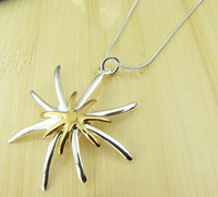 Wholesale 18krgp Necklace - Christmas gift 925 Silver 18KRGP fashion jewelry charm new Starfish pendant necklace 10pcs lot