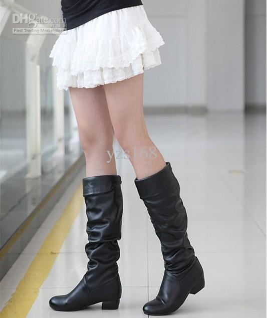 新しい到着の女性ブーツYZS168ソフトPUレザーの背の高いブーツサイズUS4から12