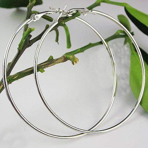 Livraison gratuite 68mm es Big Circle Boucles d'oreilles 925 Sterling Silver Polished Earring Hoops Earrings