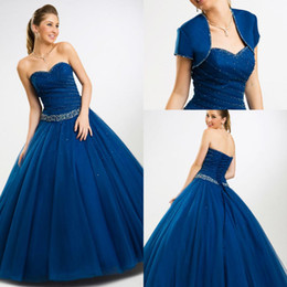 Wholesale White Quinceanera Dresses Sweetheart Neckline - 2015 Newest blue Quinceanera Dresses sweetheart neckline beaded tulle ball gown quinceanera prom dress price under 200$ Formal Gowns CS01