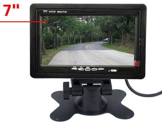 夜間視覚18 IR LED CCDリバースカメラ+ 7インチLCDモニターカーリアビューキットロングバストラック用の無料10Mビデオケーブル