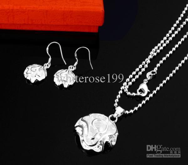 Großhandel - niedrigster Preis Weihnachtsgeschenk 925 Silber Halskette + Ohrringe Set S33