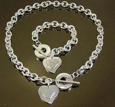 Hurtownie - najniższa cena Boże Narodzenie prezent 925 srebrny naszyjnik + zestaw bransoletki S65