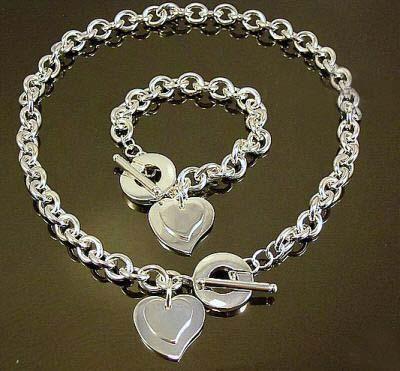 Vente en gros - le plus bas prix de Noël cadeau 925 collier en argent + Bracelet ensemble S65