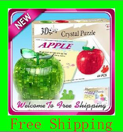 Wholesale Plastic Toy Apples - Light Apple Puzzle,3D Puzzle Crystal Decoration Red Green Apple Jigsaw Puzzle IQ Gadget Hobby Toy