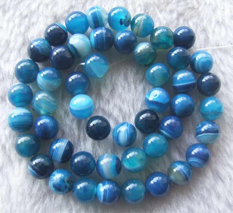 DIY Halbfabrikate blaue Achat runde Perlen 10 mm 15 Zoll