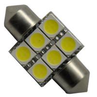 Wholesale 32mm Led - 2pcs 32mm 6-SMD LED Festoon Dome Car Light Lamp bulb White for free shipping