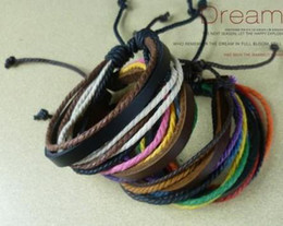 Wholesale Discounts Bracelet - Discount Tibet natural Leather Hemp Multi-layer Bracelet Handmade Adjustable lovers Stock 30pcs lot