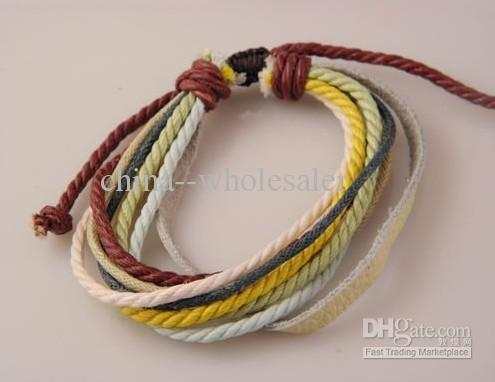 Rabatt Tibet natürliche Leder Hanf Multi-Layer-Armband Handmade Einstellbare Liebhaber Lager neue Fabrik Preis 30 teile / los