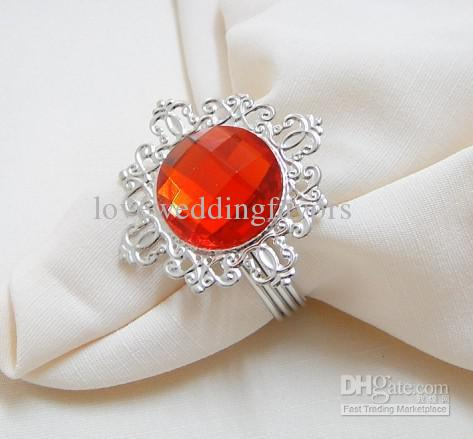 FREE DHL shipping-Wholesale-100pcs high quality, red Gem Napkin Ring Wedding Favor