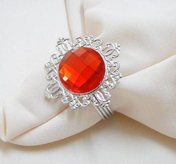 FREE DHL shipping-Wholesale-100pcs high quality, red Gem Napkin Ring Wedding Favor
