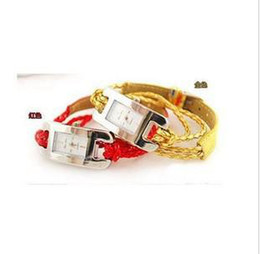 Discount battery cord - 10PCS LOT-NEW Fashion DASNI quartz Hand-knitted leather cord watchs