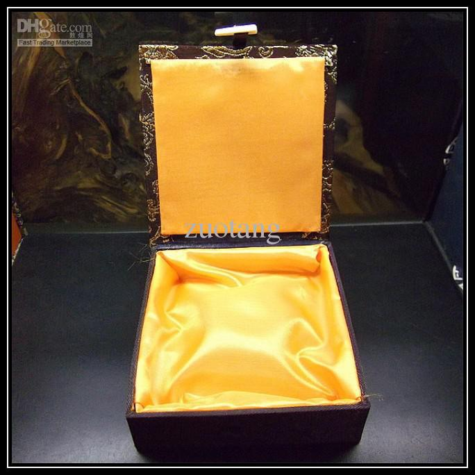 Unique Jewelry Presentation Boxes 10pcs Mix Color Pattern 4*4 inch Silk Fabric Square with Lined Box