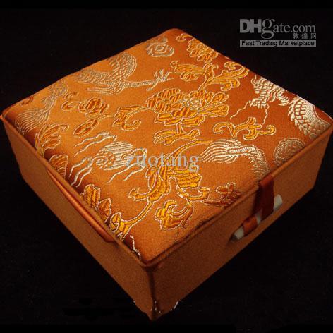 Chińska Bransoletka Pudełka Pudełka Biżuteria 10 SZTUK Mix Kolor Wzór 4 * 4 calowy Silk Tkaniny Kwadratowe pudełko