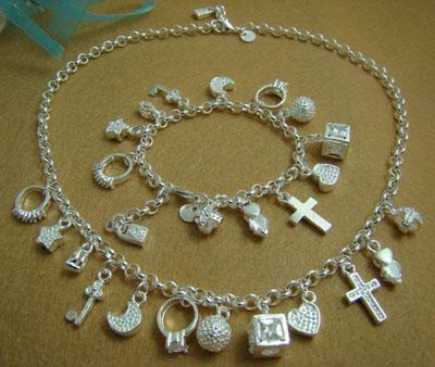 Hurtownie - Detaliczna Najniższa cena Christmas Gift 925 Silver Fashion New Necklace + Zestaw Bransoletki S72