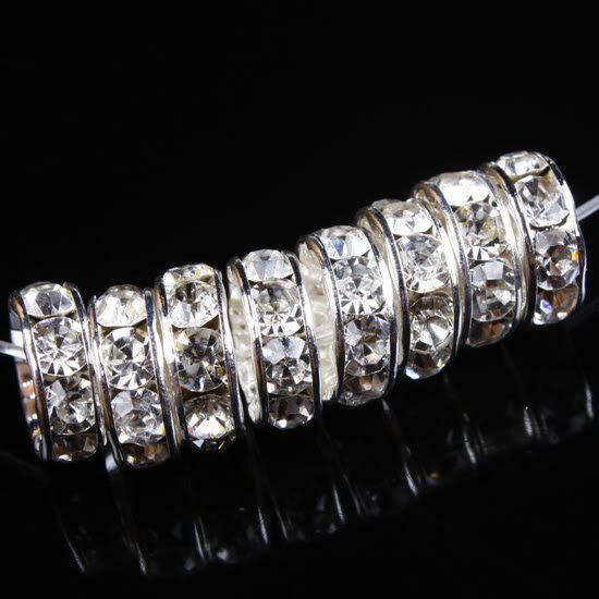 Free shipping 6/7/8/10/12mm Clear Rhinestone Spacer Silver Beads 100pcs/lot/Jewelry/HOT Sale/HI-Q