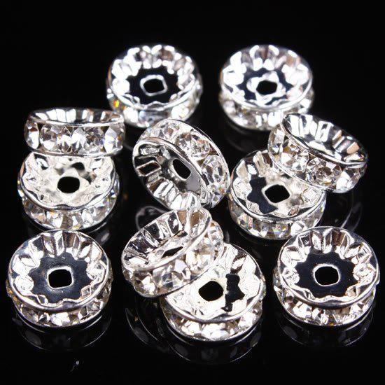 6/7/8/10/12mm Clear Rhinestone Spacer Silver Beads /Jewelry/HOT Sale/HI-Q