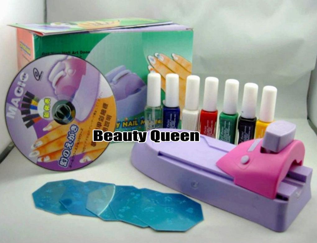 Nail Art DIY Druckmaschine Polish Stamp Kit Farbe Design Stamping Drucker Set Schablone Bild Platte