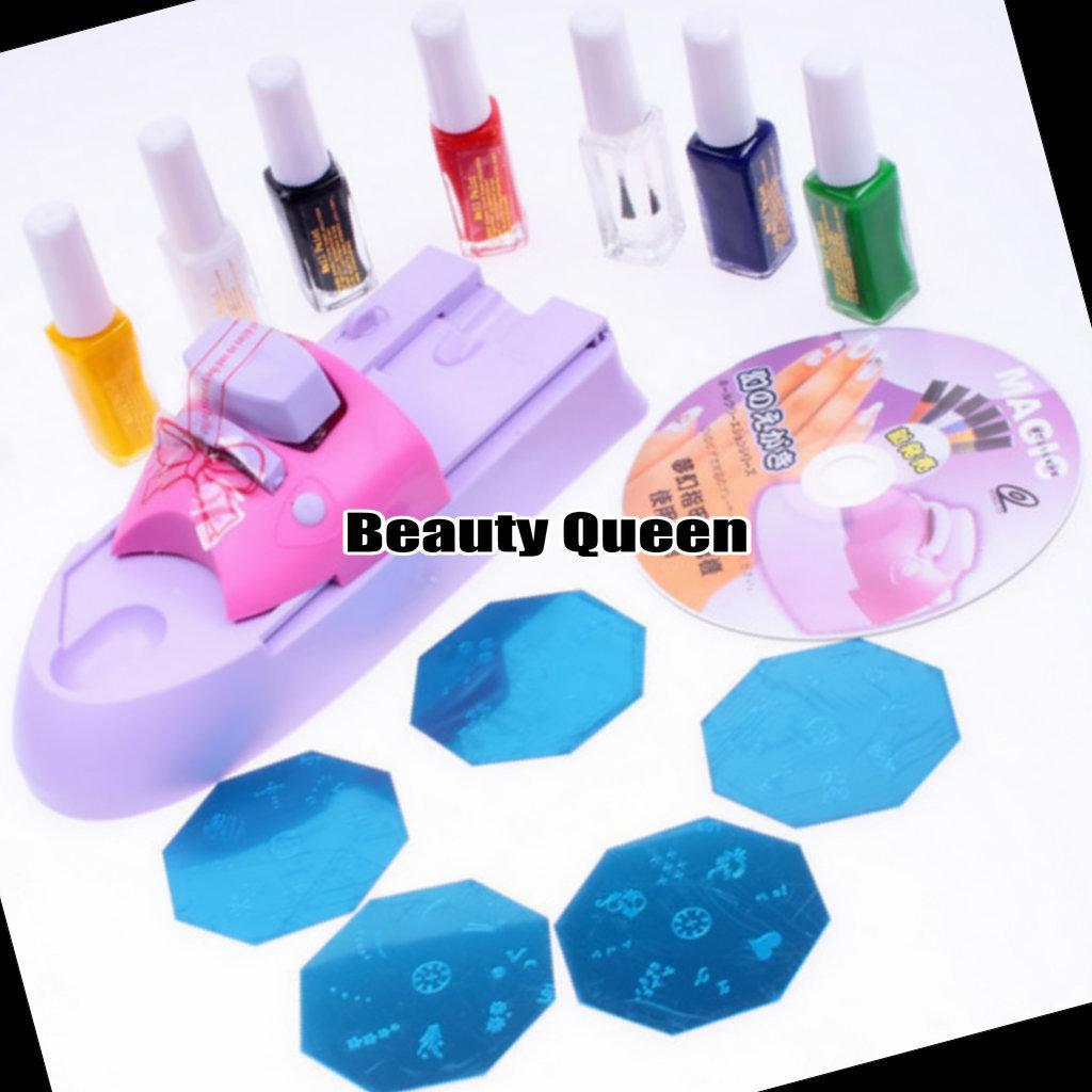 Nail Art Diy Printing Machine Polish Stamp Kit Color Design Stamping