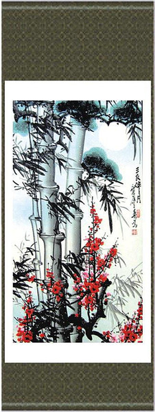 Chinese Bamboo Painting Silk Fabric Classical Decor Hanging Scroll Art Sale L100 x w 35cm 1pcs Free