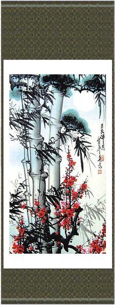 Pintura de Bambu chinês Tecido De Seda Decoração Clássica Pendurado Venda de Arte de Rolagem L100 x w35 cm 1 pcs Livre