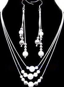 Groothandel - Laagste prijs kerstcadeau 925 Sterling zilveren mode ketting + oorbellen SET S74