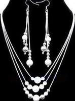 925 goldpreis großhandel-Großhandel - niedrigster Preis Weihnachtsgeschenk 925 Sterling Silber Fashion Halskette + Ohrringe Set S74