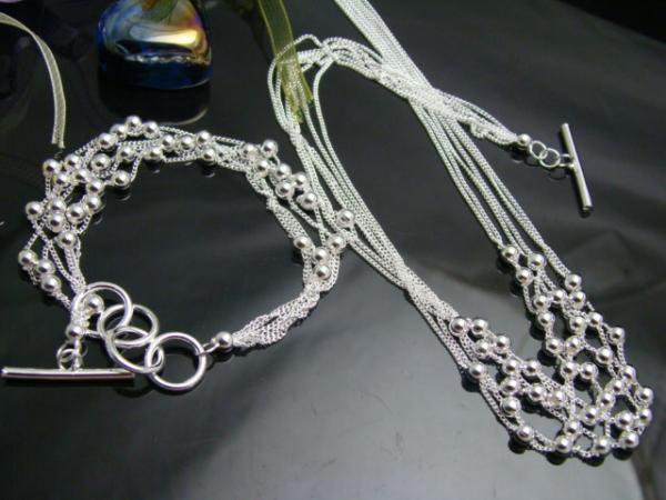 Commercio all'ingrosso - vendita al dettaglio prezzo più basso regalo di Natale 925 collana in argento + braccialetto set S75