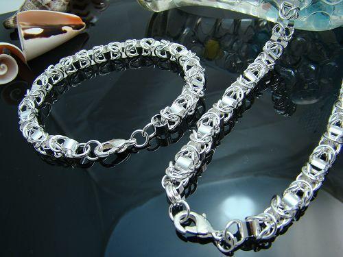 Partihandel - Lägsta pris Julklapp 925 Silver Halsband + Armband Set S77