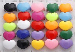 Wholesale Bulk Heart Rings - Bulk Mixed Lot 100 pcs Resin Lucite Chunky Rings Heart Kid's Rings Jewelry Christmas Gift Rings [LR05*100]